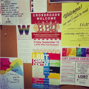 Bulletin board of LGBTCC fliers