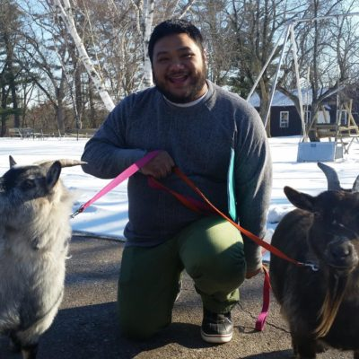 Gabe Javier with goats