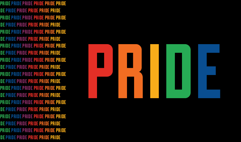 PRIDE in rainbow letters on a black background