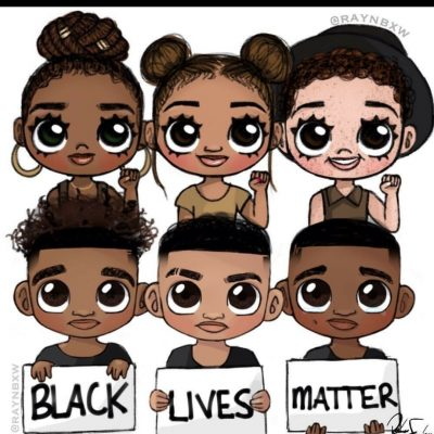 Illustration of six young Black people holding signs reading BLACK LIVES MATTER