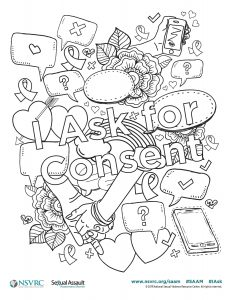 Coloring sheet featuring hearts, phones, etc, and the words I Ask for Consent