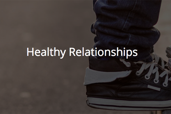 Text: Healthy Relationships on an image of a Converse-style shoe